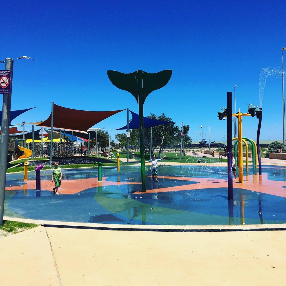 The free splash park in Geraldton.