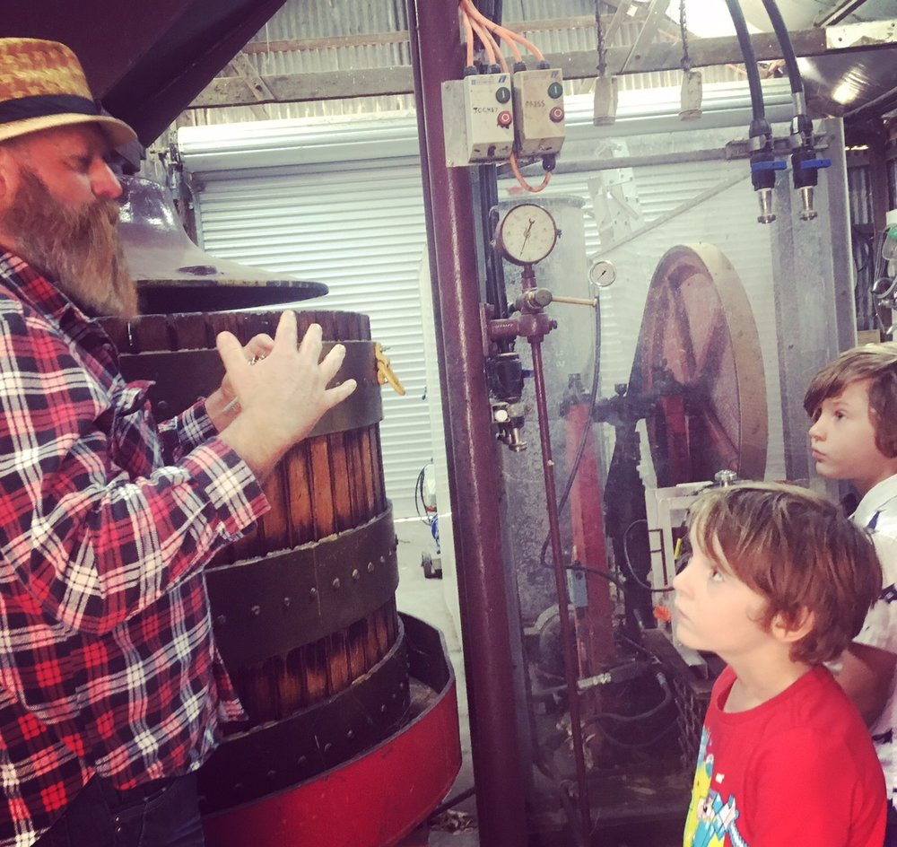 Alan from the Kay Brothers Winery teaching the boys how to become future Wine Makers.
