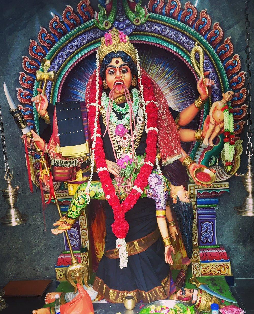 Goddess statue at the Sri Veeramakaliamman Temple, Serangoon Rd.