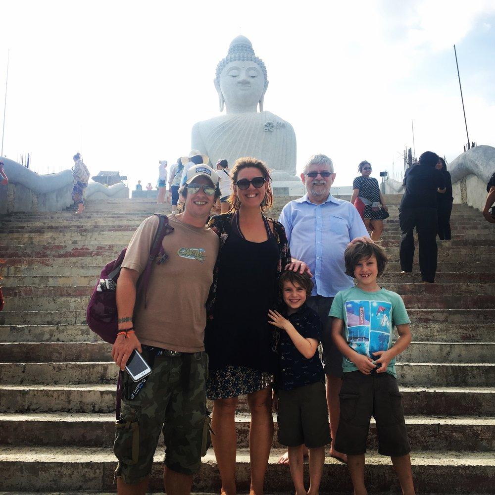 At the Big Buddha, Phuket with Dad.