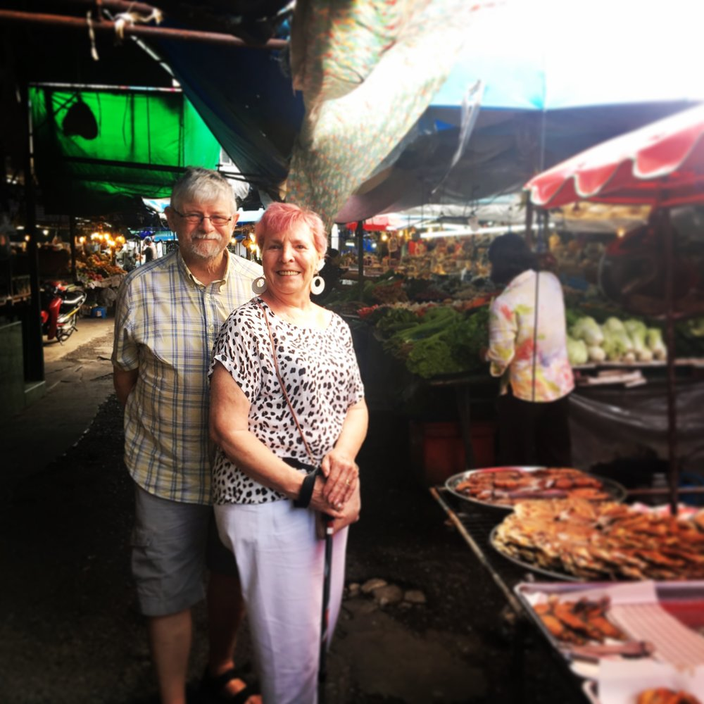 The Grandparents at Phuket Old Town market. So many ingredients we couldn't recognise!