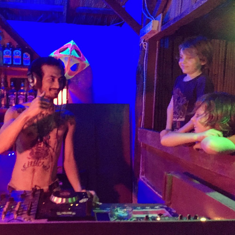 Making friends with our local friendly techno DJ.