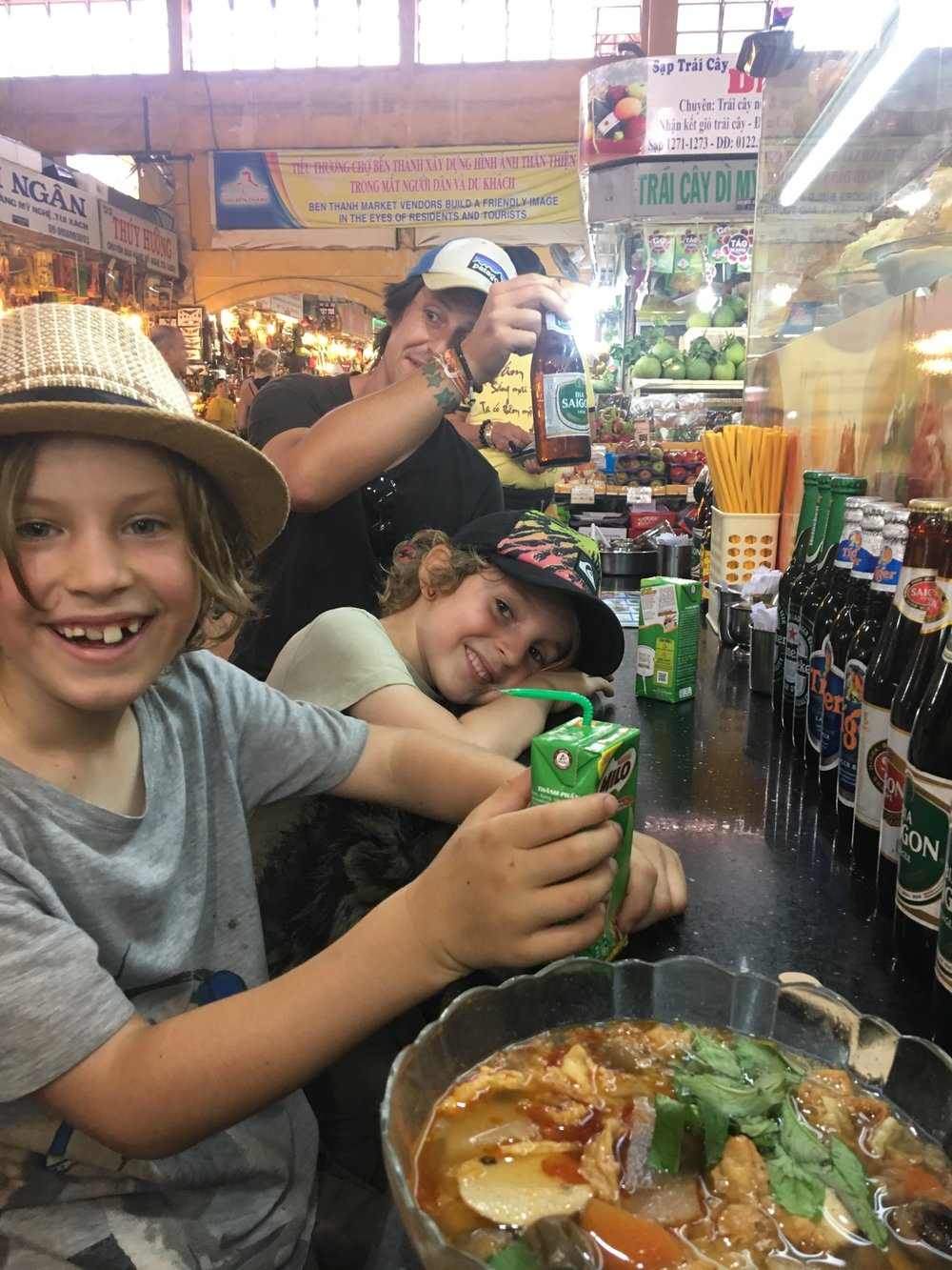 Having a Pho at the Ben Thanh Market. Hectic but fun!