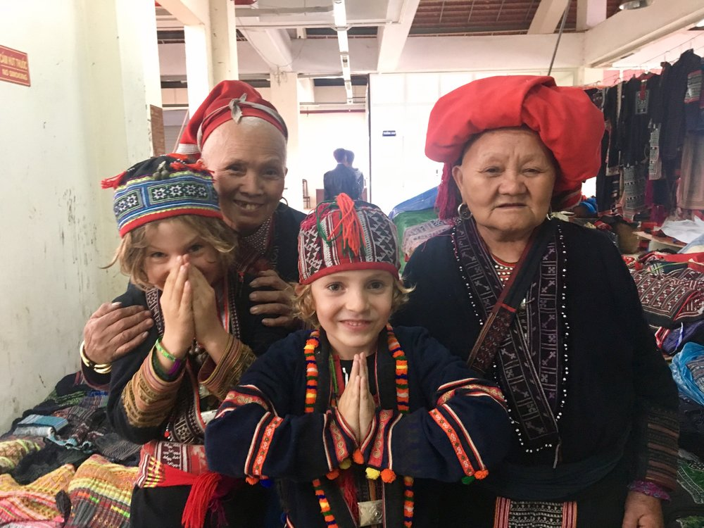 With the Red Dao tribe ladies in Sa Pa, Vietnam.