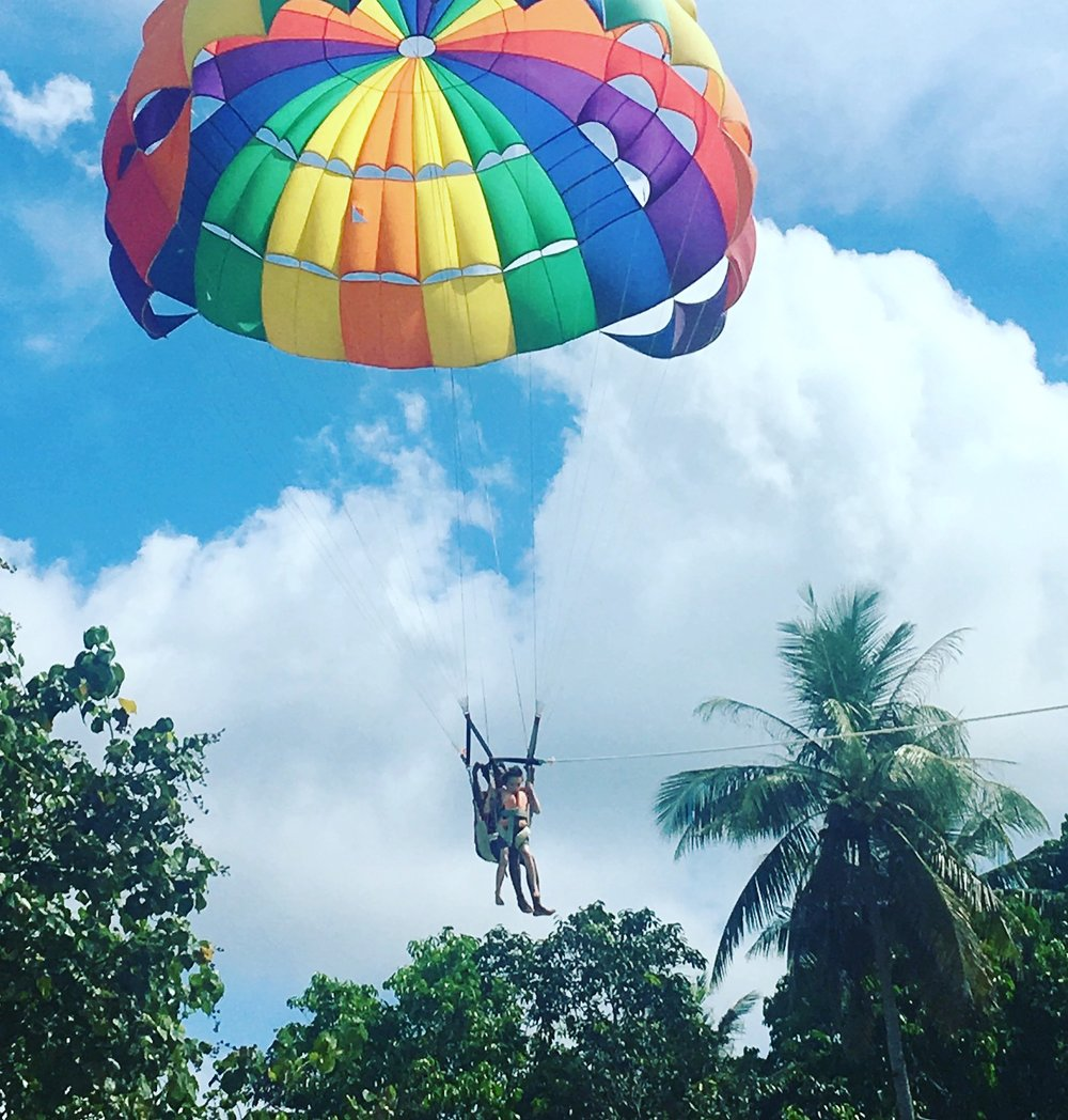 The Eldest son parasailing in Langkawi, Malaysia.
