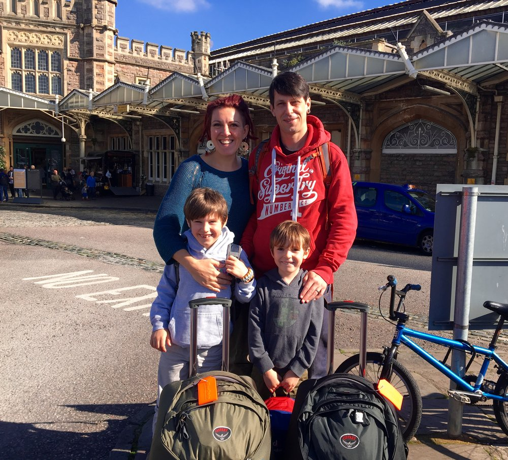 Us, fresh faced and leaving on our adventure at Temple Meads train station six months ago.
