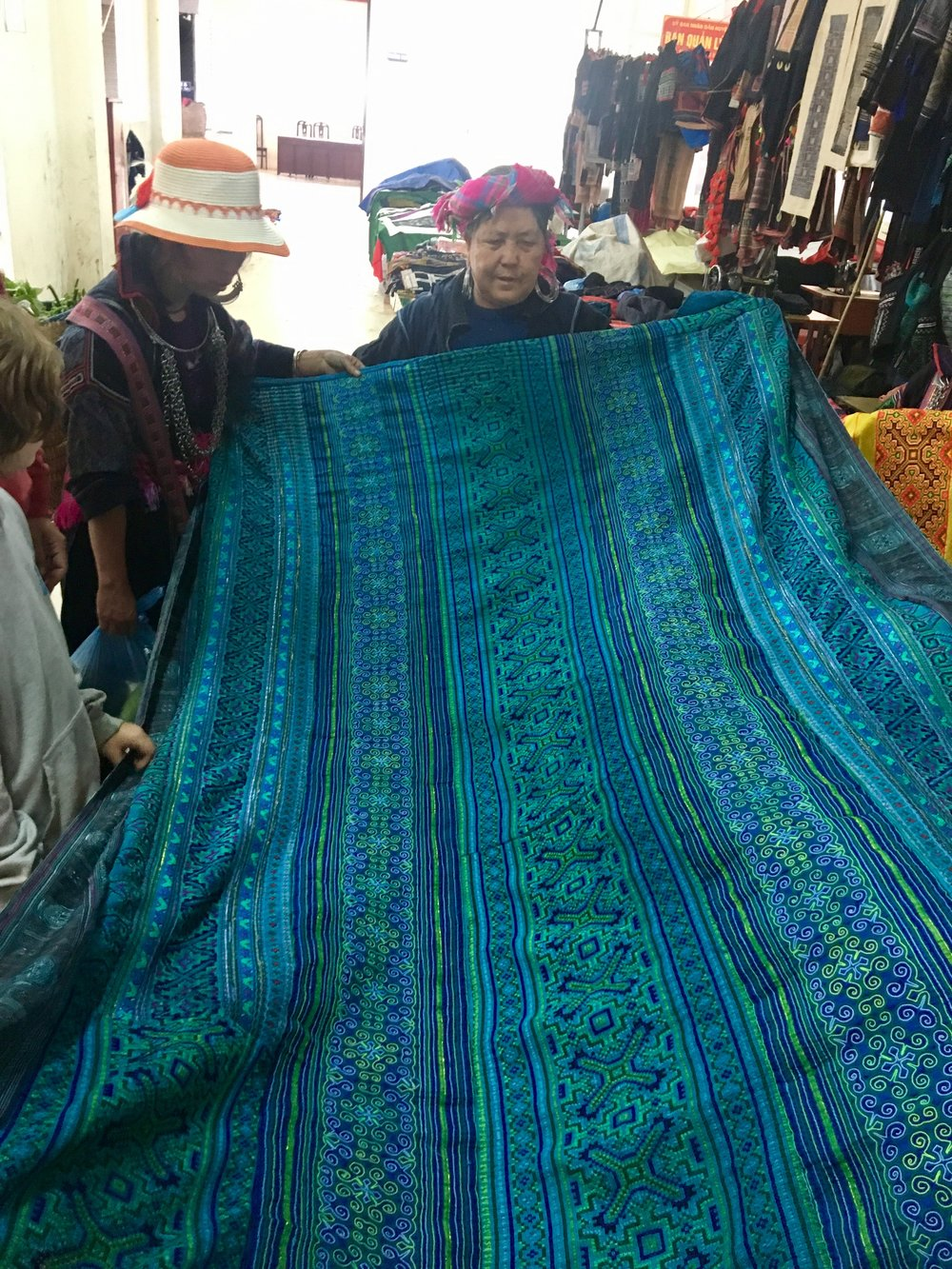 The beautiful hand embroidered blanket took 4 months to make.