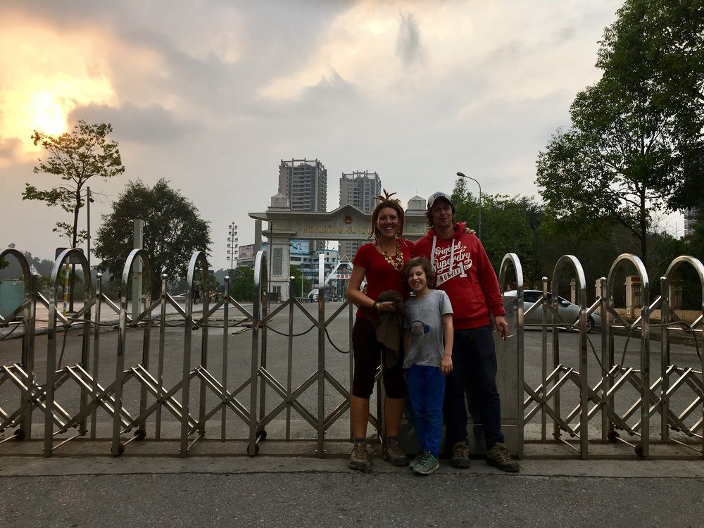 Us at the Chinese border which is near the Lau Cai train station, a 1 hour drive from Sapa.