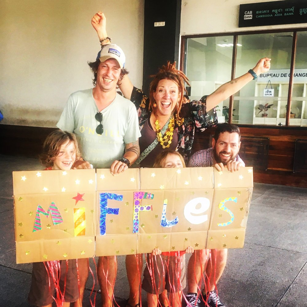 Waiting for Uncle Miffles to arrive at Siem Reap airport, all the taxi drivers took photos of us as this was clearly the best sign they had ever seen.