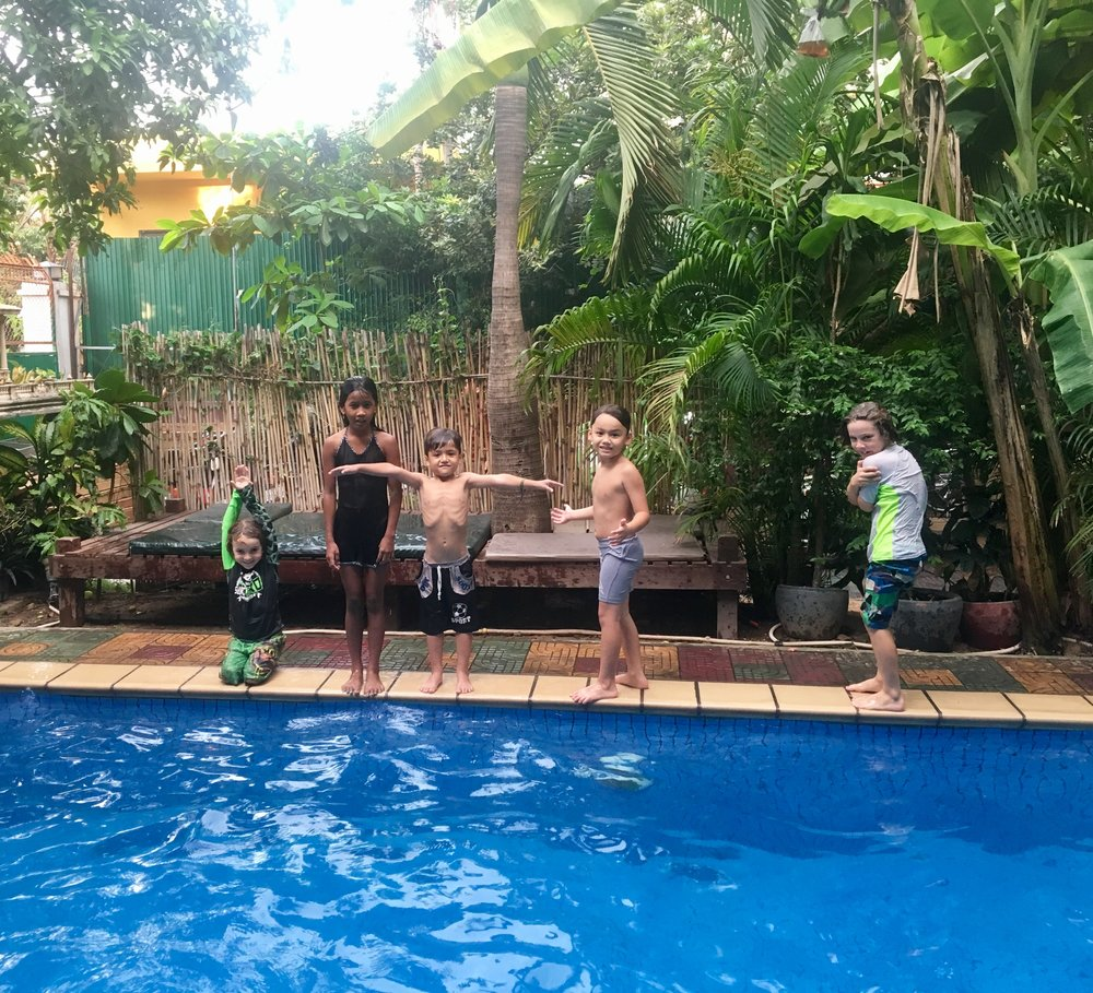 At the 3 Mangoes in Phnom Penh- where we felt it was more like a commune than a hotel! Our kids loved their kids.. we hardly left the place as they loved it so much.