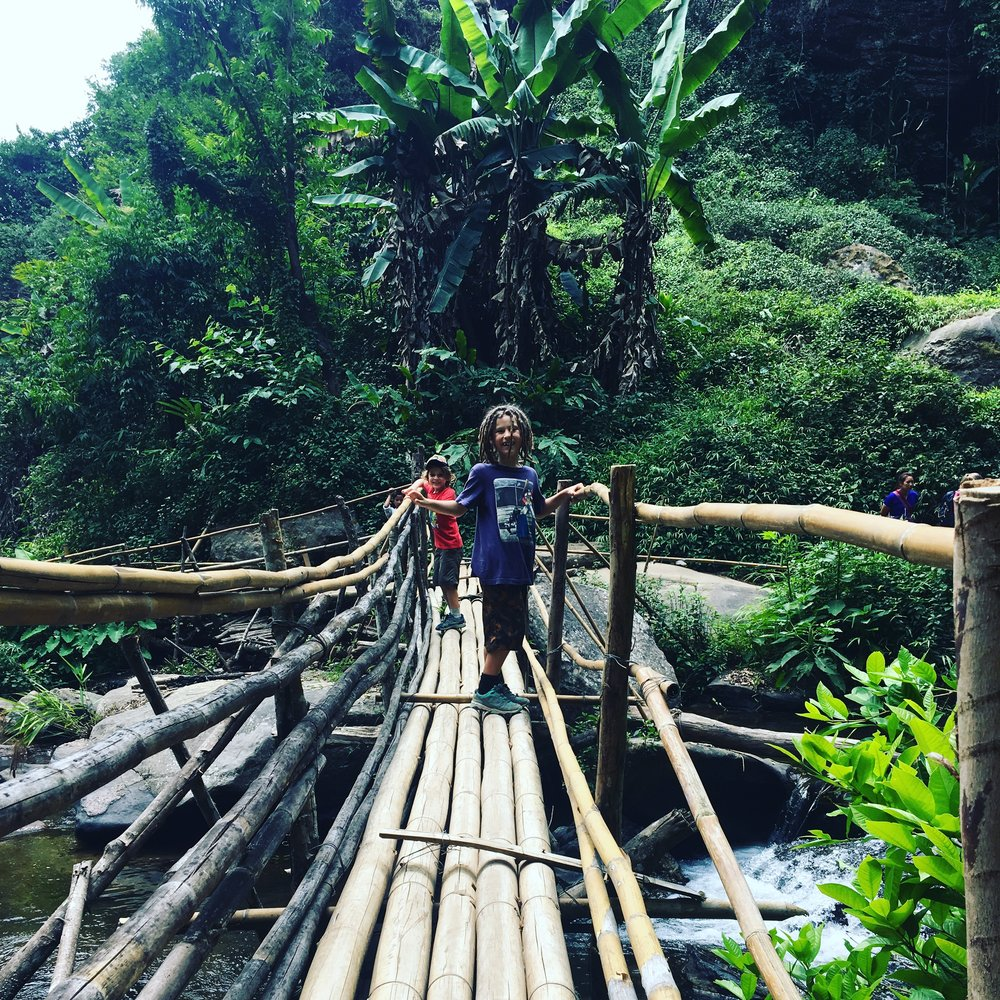 Trekking in the jungle around Chiangmai, loving the bamboo bridge over the ravine.