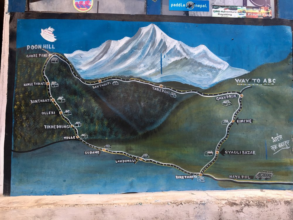 The map of our trek which started at Birethanti (at the bottom) and ended at Kimche (to the east).
