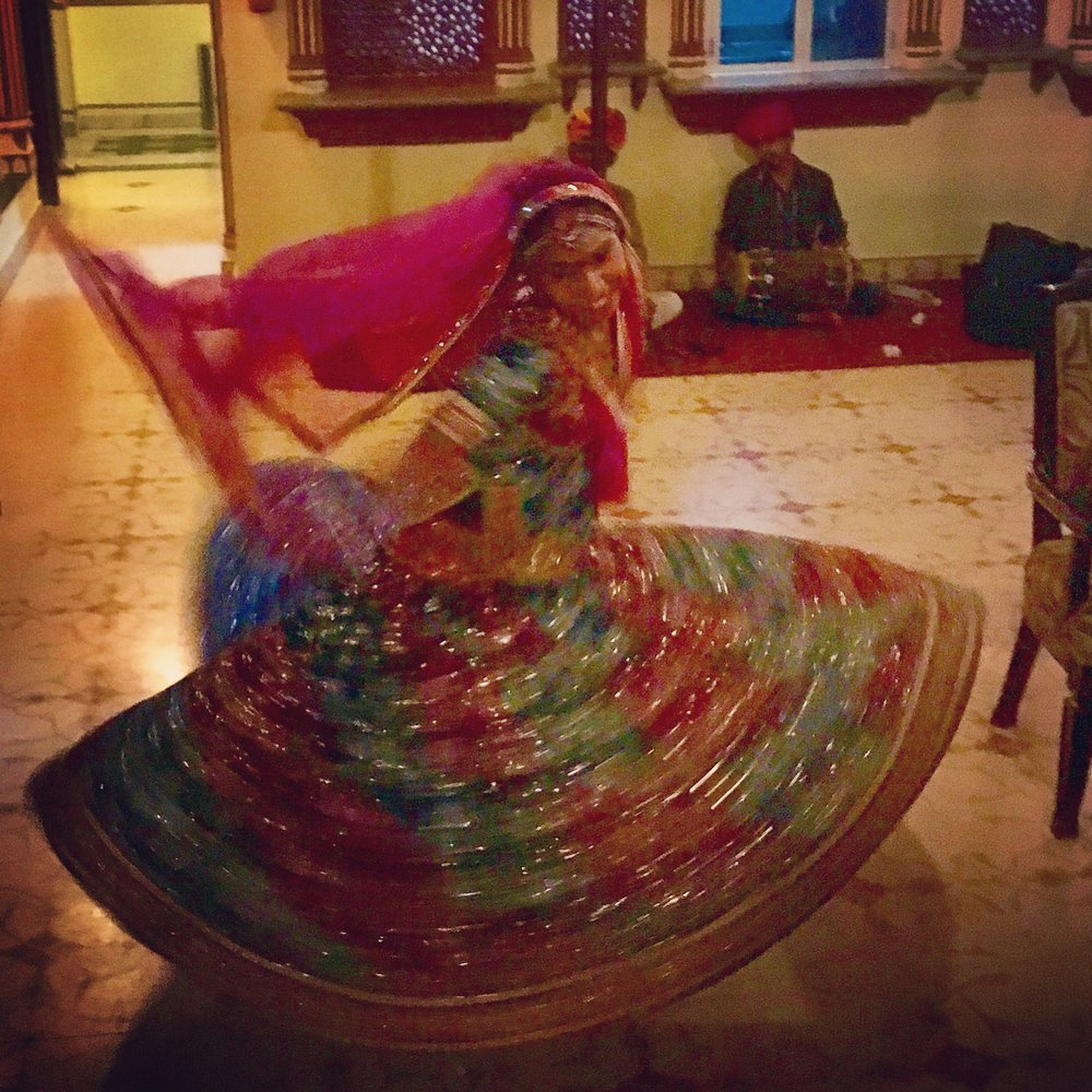 Evening entertainment at our hotel, Umaid Bawan. Traditional dancing and music every night.