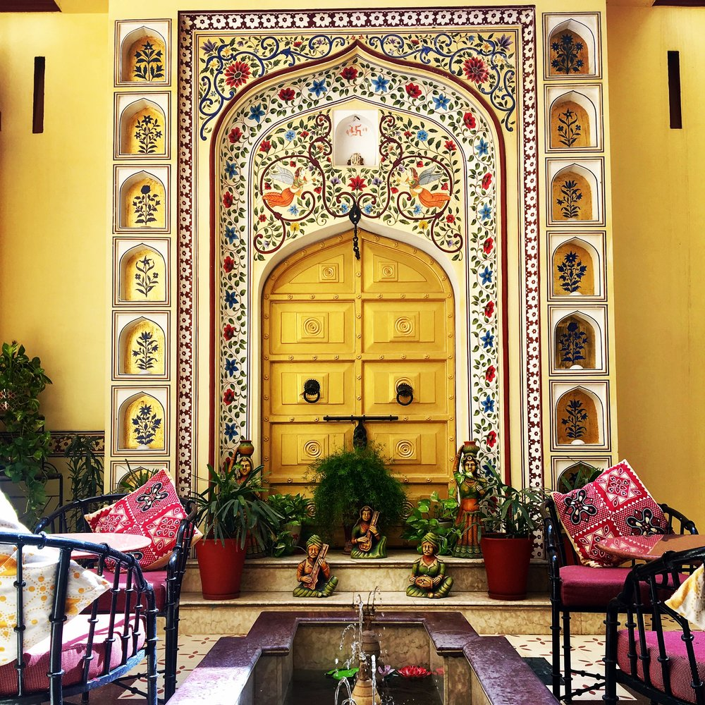 A courtyard at our lovely hotel in Jaipur.