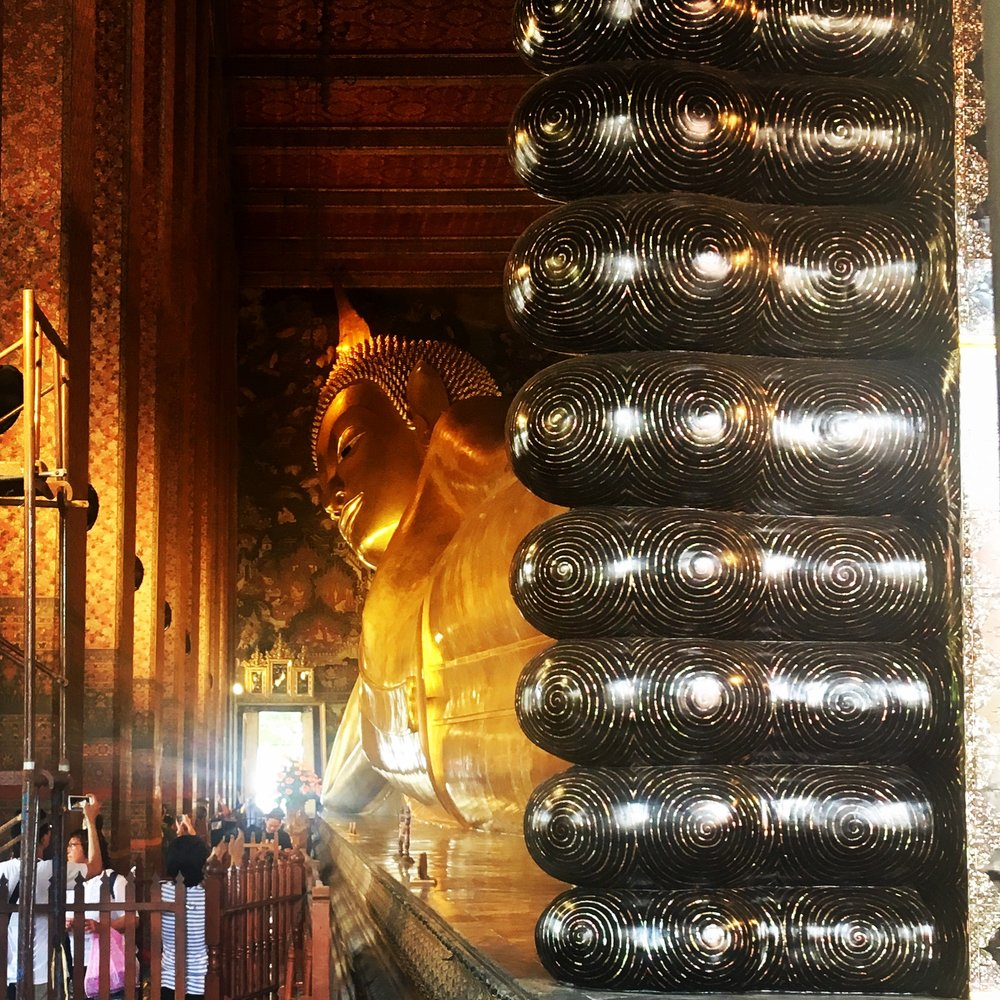 Wat Po- the reclining Buddha, Bangkok with mother-of-pearl inlaid feet.