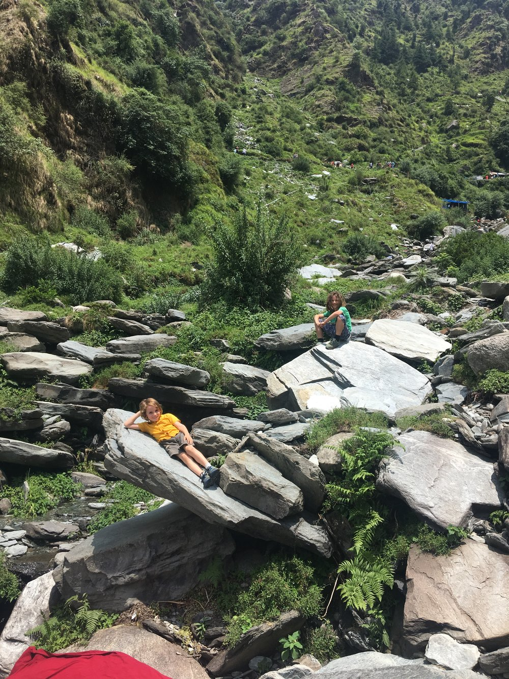 Hanging out on the riverbed, leading to Baghsu Waterfall, Dharmashala.
