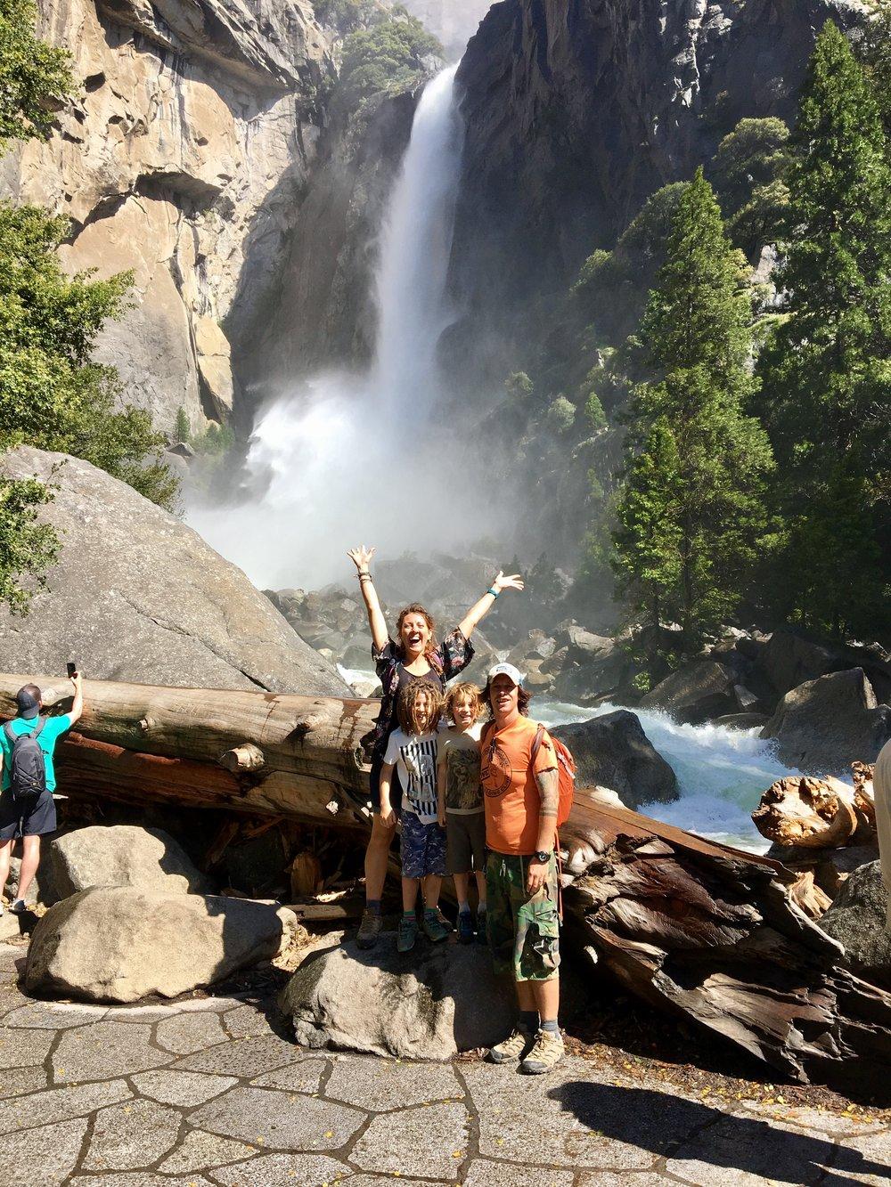 Getting soaked at Yosemite Falls.