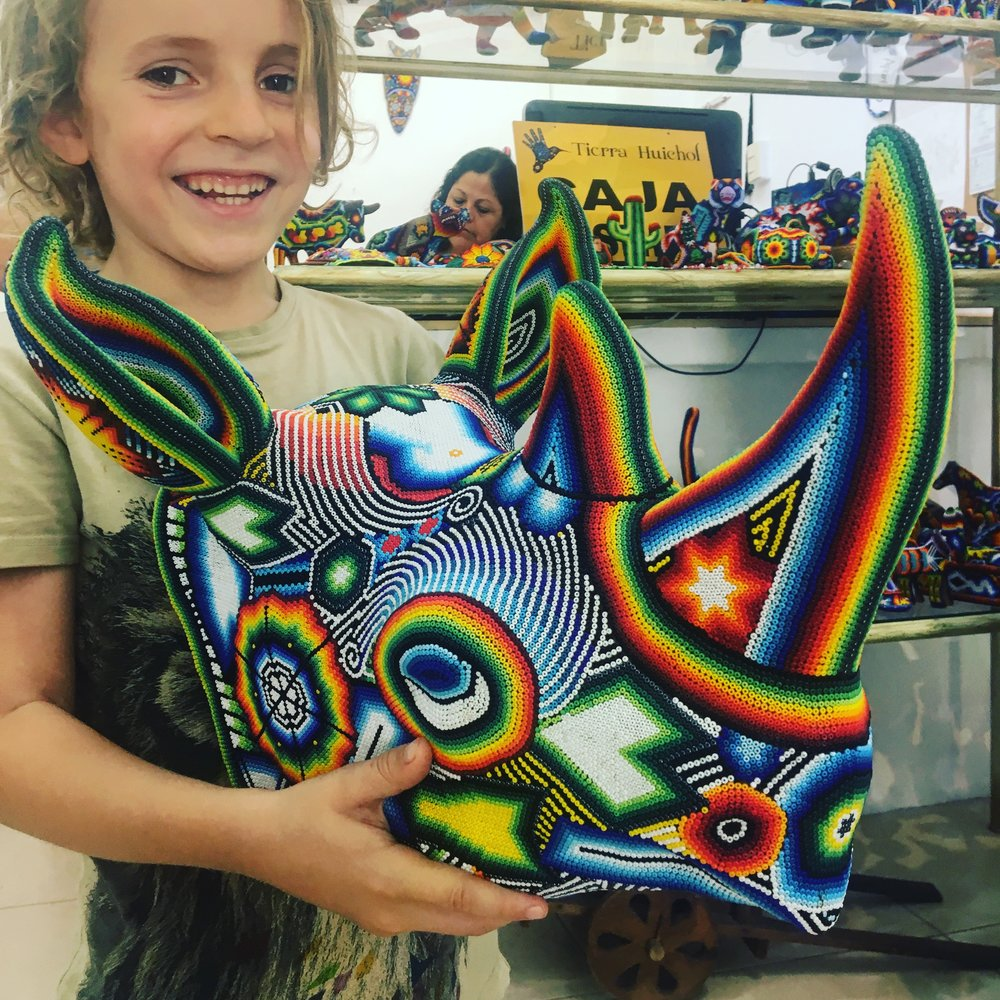 The boys were obsessed with the colourful Huichol arts which are particular to the region.
