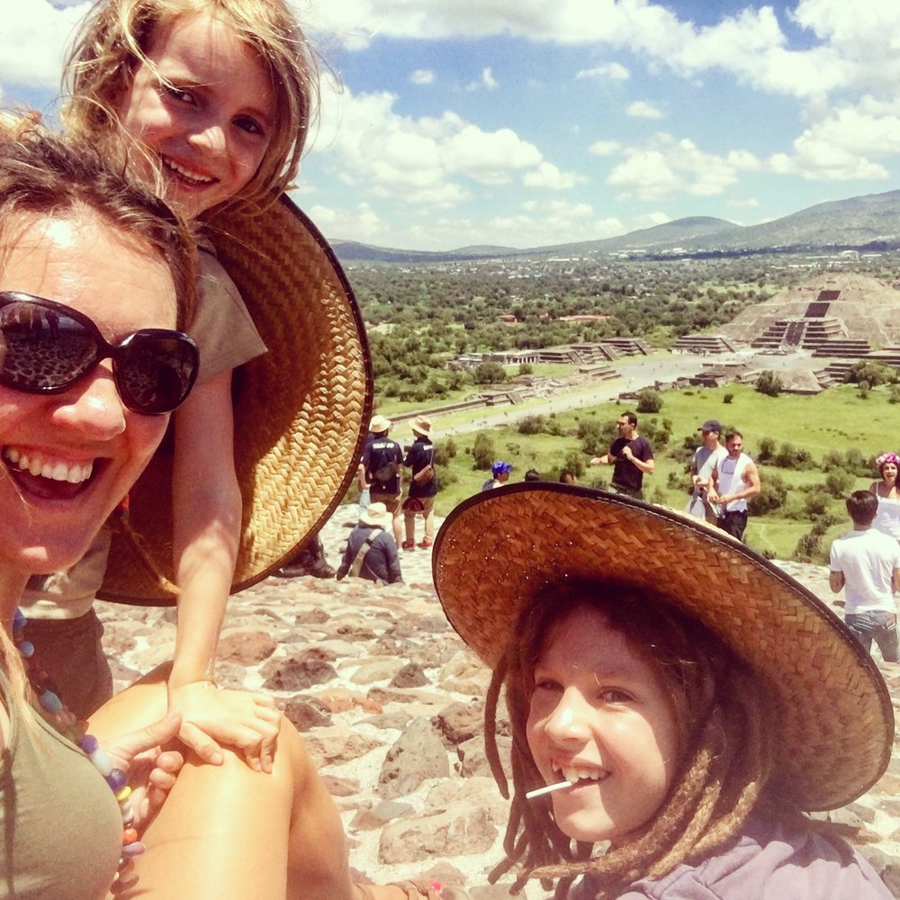 View from the top of the Pyramid of the Sun, Teotihuacan towards the Pyramid of the Moon.