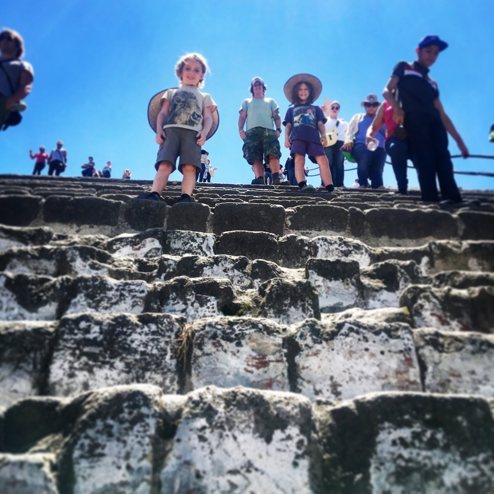 Looking up the steps at the Pyramid of the Sun.