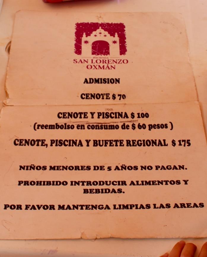 Price list at Oxman Cenote