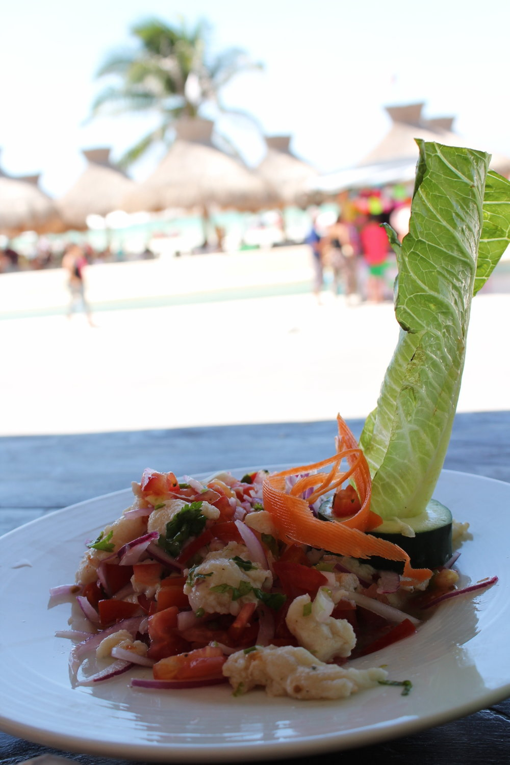 Fresh and zingy ceviche on the sea front at Progreso