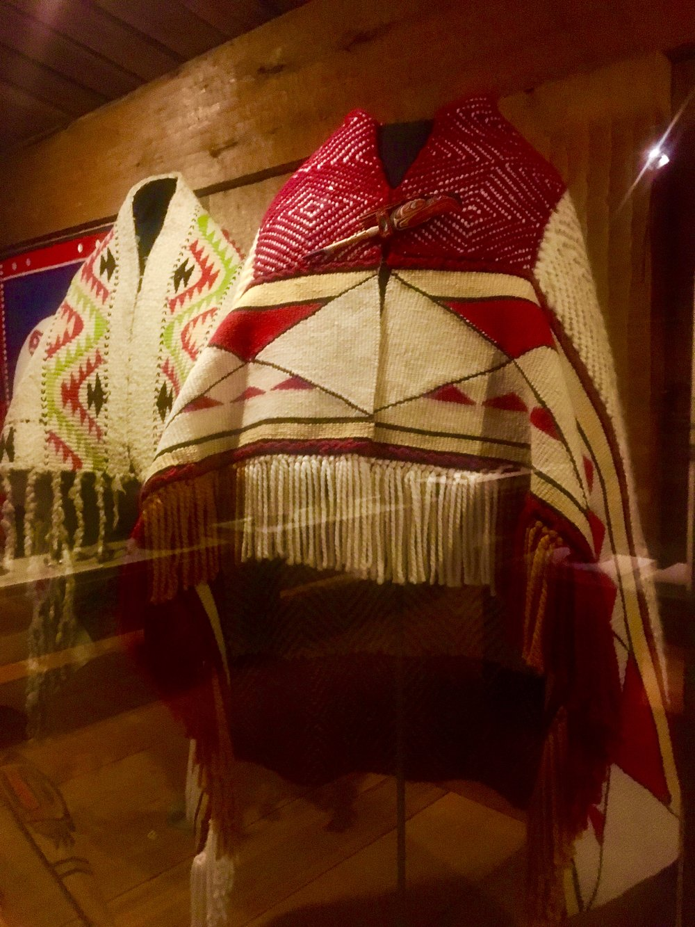 Indigenous wool shawls at the Canadian museum of history. Ottawa.