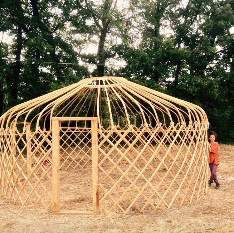 The frame of our wonderful yurt.