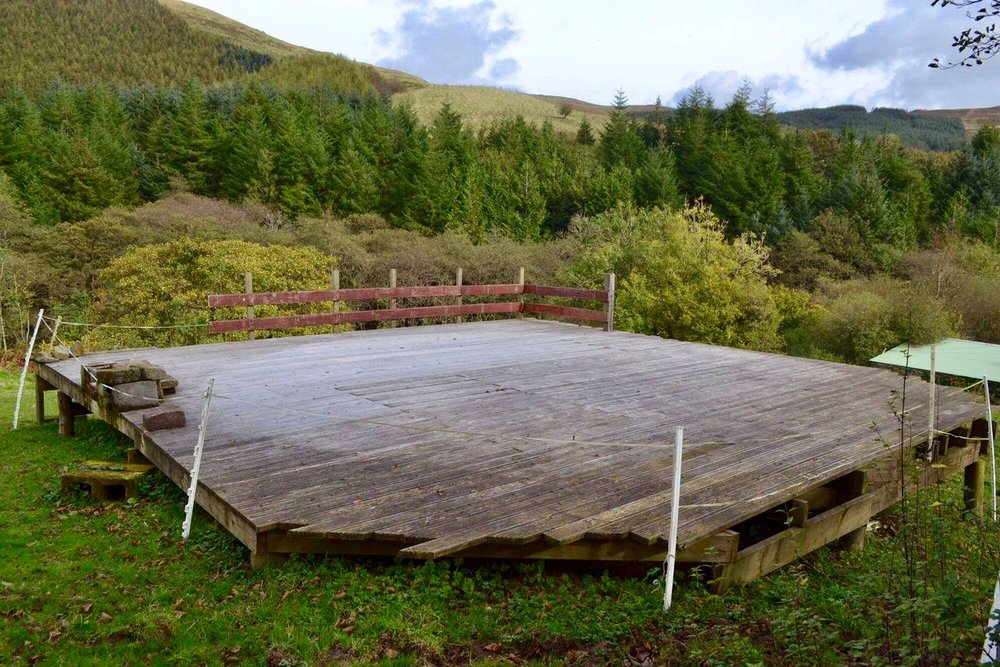 The existing platform on our friends' land, waiting for our yurt.