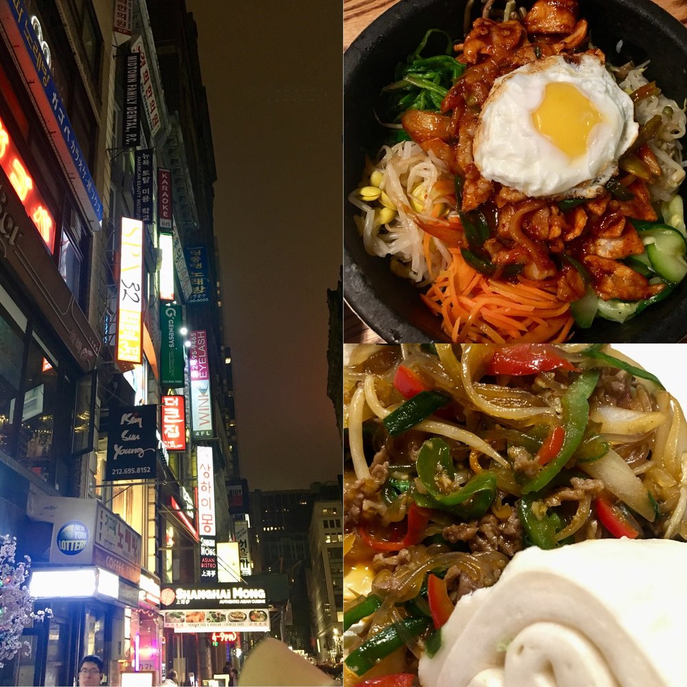 Korea Town. My favourite, Bi Bim Bap- a dish served in a smoking hot bowl. The rice at the bottom ends up going crispy despite being coated in delicious, spicy unctuousness. AND you get a fried egg on top.