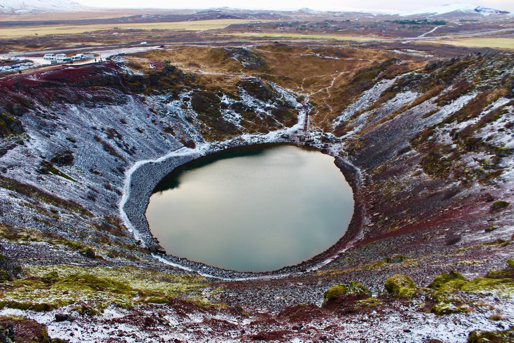 Kerið crater lake is a volcano that erupted 6500 years ago.