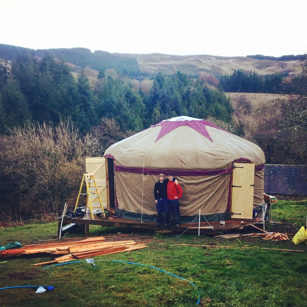 Our yurt- erected after a satisfying hard days slog.