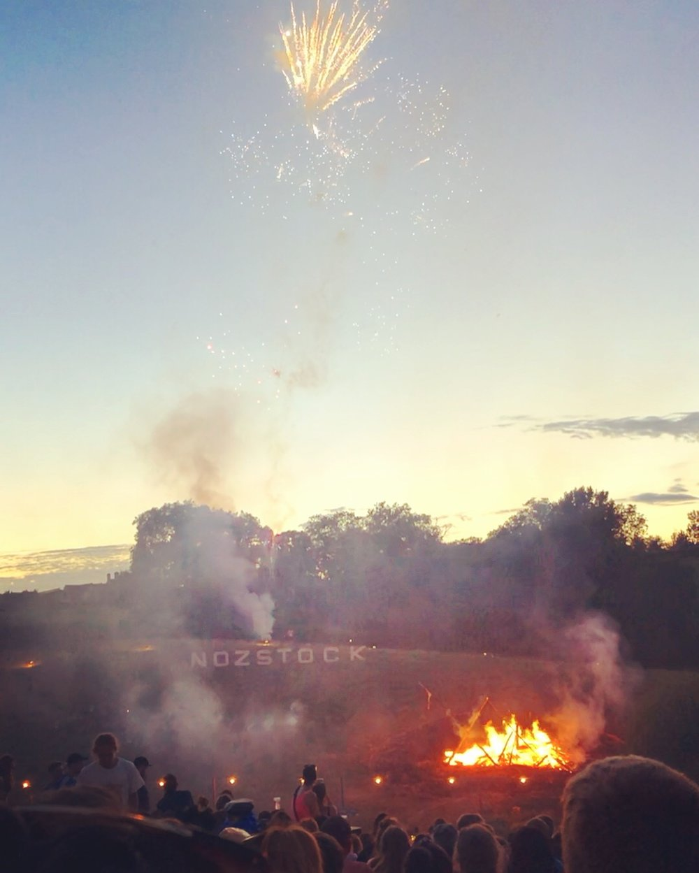 Nozstock's grand finale firework show on the Sunday night. The ashes of our neighbour's recently deceased father were sent up in a rocket. Testimony to how much love there is for this family festival.