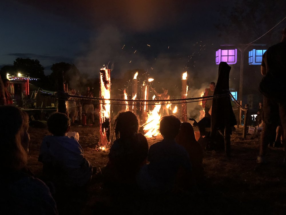 Chilling out at the Sunken Yard fire show.