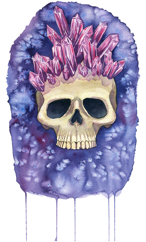 Amethyst Crystal Crowned Skull