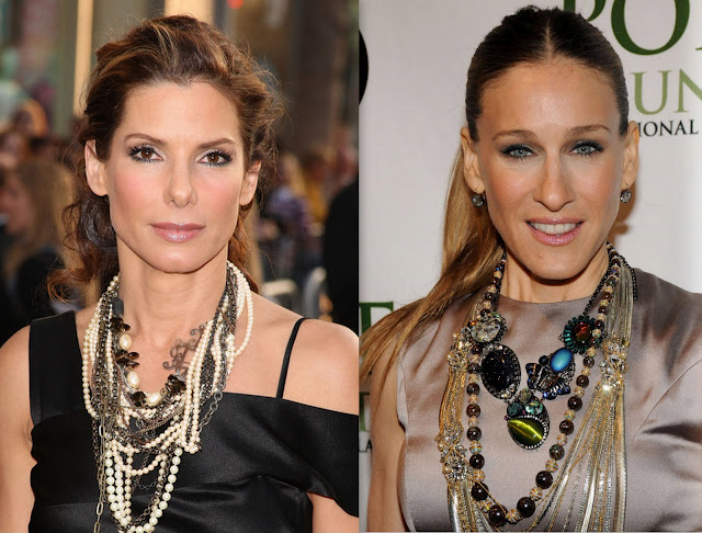 Sarah Jessica Parker and Sandra Bullock layered statement necklaces