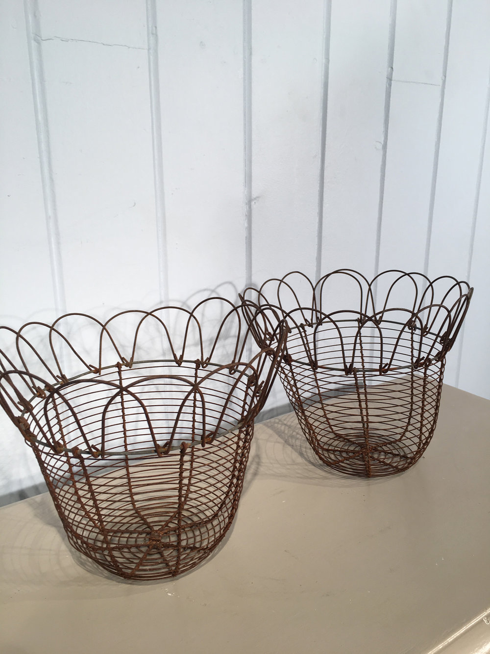 Pair of English Wire Egg Baskets — The Elemental Garden
