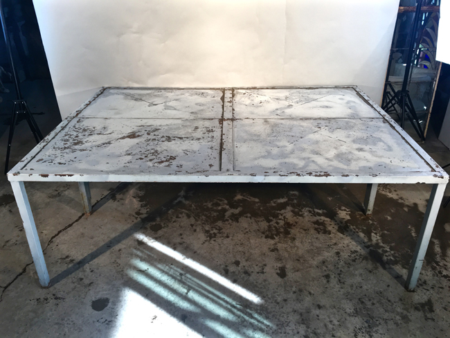 Unusual French Rectangular Galvanized Steel Dining Table