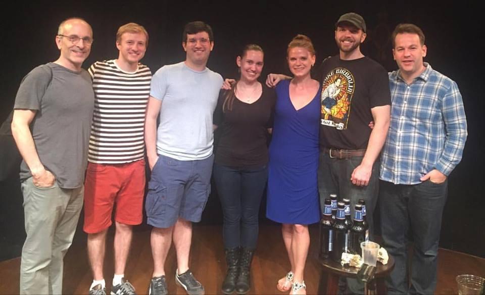 Left to Right: Seth Barrish (director), Jesse Vandenbergh, David De Almo, Lauren Cavanaugh, Rebecca Crigler, Michael McLendon, Mike Birbiglia.
