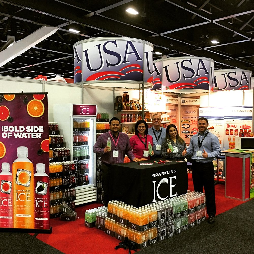 LTA is a proud distributor of Sparkling ICE beverages in Australia. Pictured here is LTA International's booth at Fine Food Australia 2017.