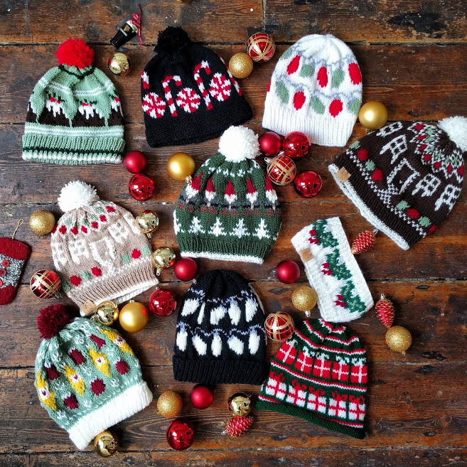The Holiday Hats Collection - Dec 2018 - Click below to explore the knit patterns! Visit the Mood Board, and read the blog posts to find out more about each design!