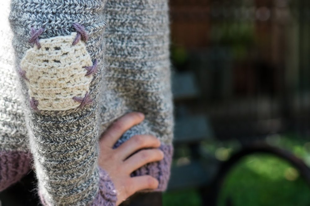 Elbow patch detail on my  Truffle Sweater  pattern