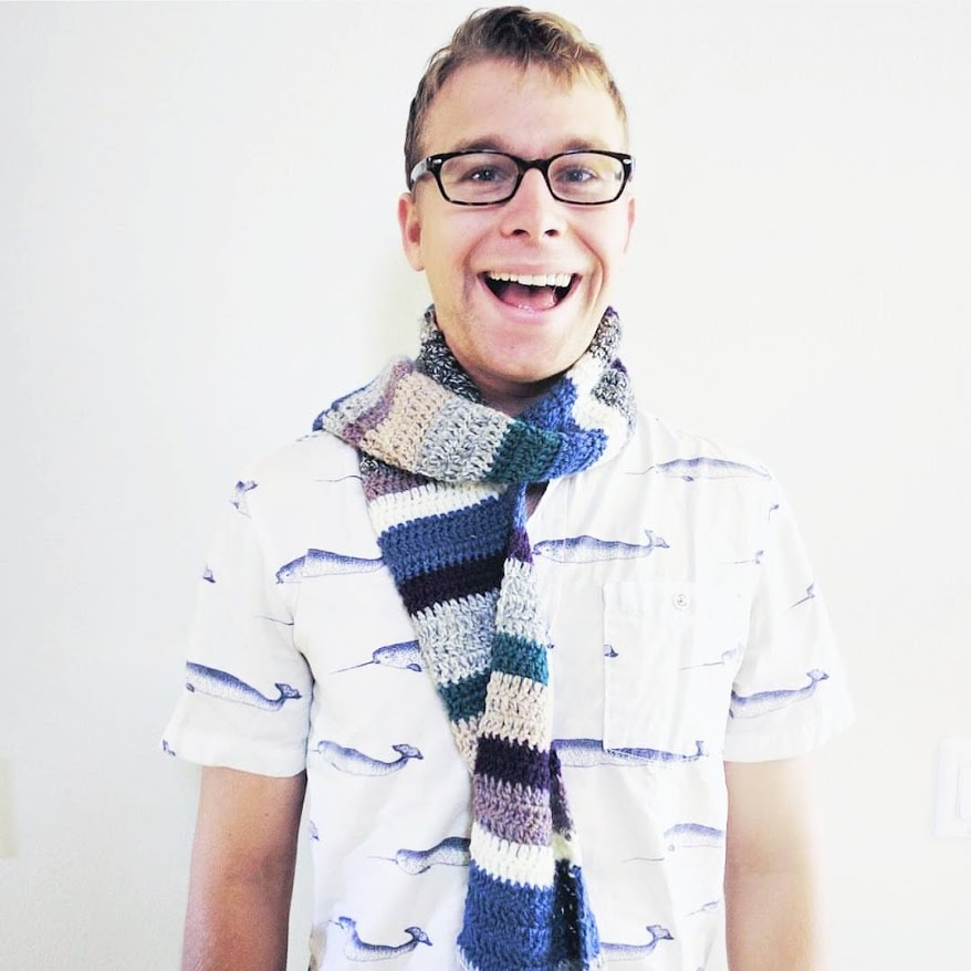 My brother, in his scrappy scarf. P.S. For those wondering, yes, those are narwhals on his shirt.