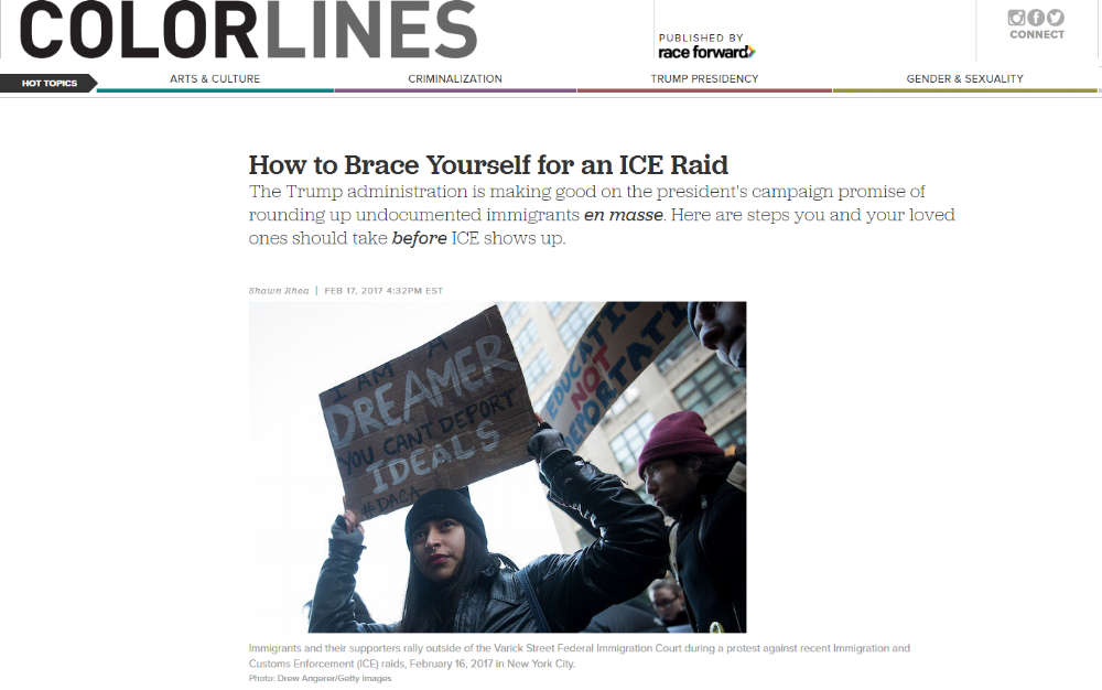 ICLC Staff Attorney Jessica Greenberg discusses immigrant rights with Colorlines.    Reach it to learn how to protect yourself:  How to Brace Yourself for an ICE Raid .