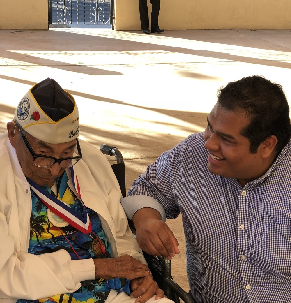 """It was an honor to have met Mr. Ray Chavez, Pearl Harbor's oldest survivor (105 years old).  Regardless of which war our veterans fought in, they deserve the utmost respect and we do that through legislation that benefits them."""