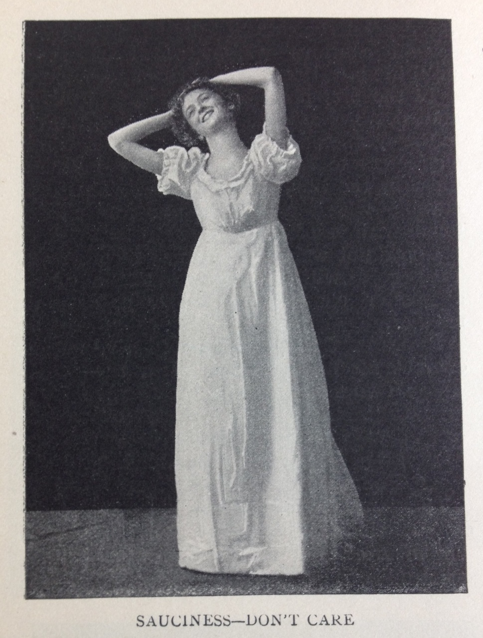 "Frances Pogle demonstrating ""Sauciness""—one the mind-body practices from her book:  The Standard American Speaker and Entertainer , 1901"