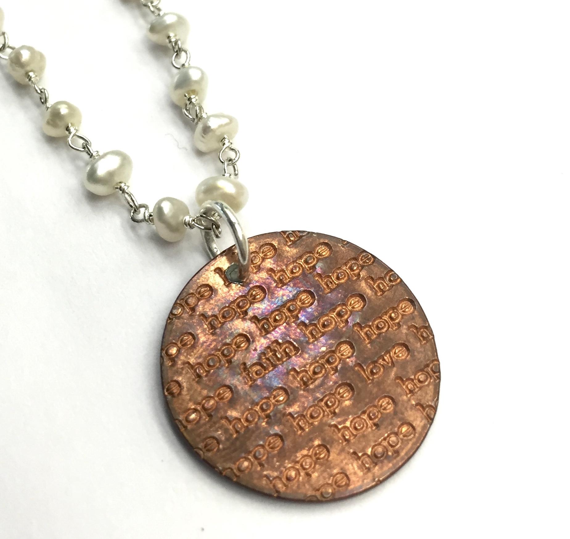 Hope Faith Love Double Wrap Pearl Necklace