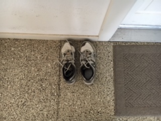 Pat's shoes. He left them outside my laundry room door. They haven't moved since July 23, 2014.