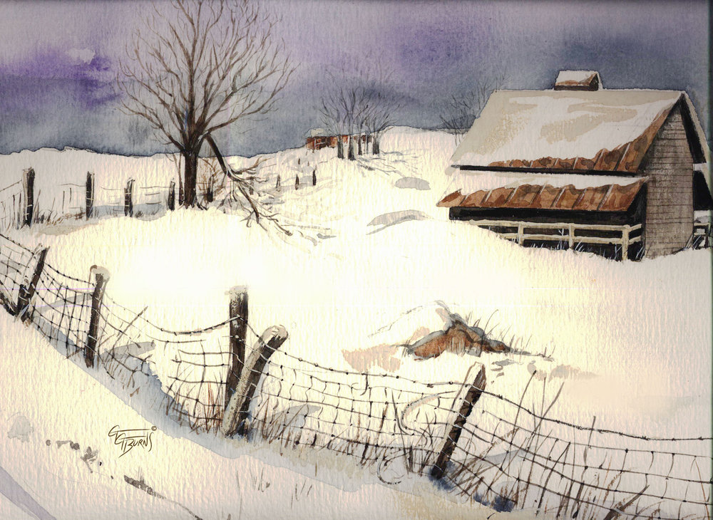 """Country Barn In The Snow"", painted by artist & brain health advocate GG Burns For more info click here:  http://fineartamerica.com/featured/country-barn-in-the-snow-gg-burns.html"