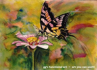 Pink Swallow Tail Dance with Light Watercolor by GG Burns